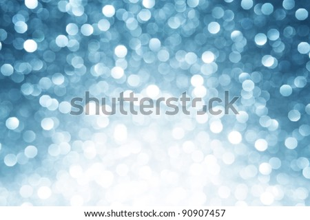 Blue christmas winter background with copy space - stock photo