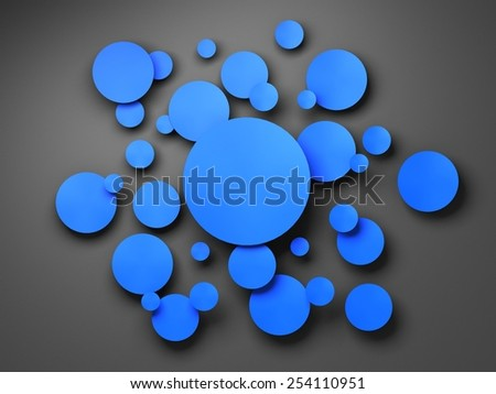 Blue circle banner with drop shadows. 3D render - stock photo