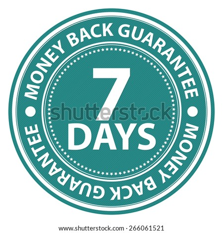 Blue Circle 7 Days Money Back Guarantee Badge, Label, Sticker, Banner, Sign or Icon Isolated on White Background - stock photo