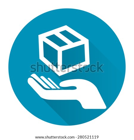 Blue Circle Hand With Box, Handle With Care, Do Not Drop Flat Long Shadow Style Icon, Label, Sticker, Sign or Banner Isolated on White Background - stock photo