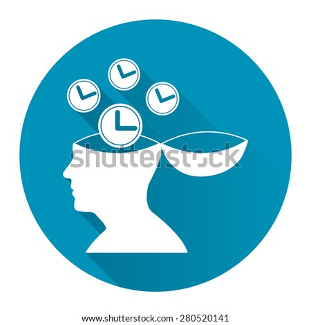 Blue Circle Head With Clock, Time Saving, Time Management Flat Long Shadow Style Icon, Label, Sticker, Sign or Banner Isolated on White Background - stock photo