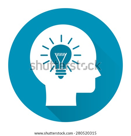 Blue Circle Head With Light Bulb, Idea Flat Long Shadow Style Icon, Label, Sticker, Sign or Banner Isolated on White Background - stock photo