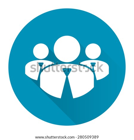 Blue Circle Member, Group of Businessman Long Shadow Style Icon, Label, Sticker, Sign or Banner Isolated on White Background - stock photo