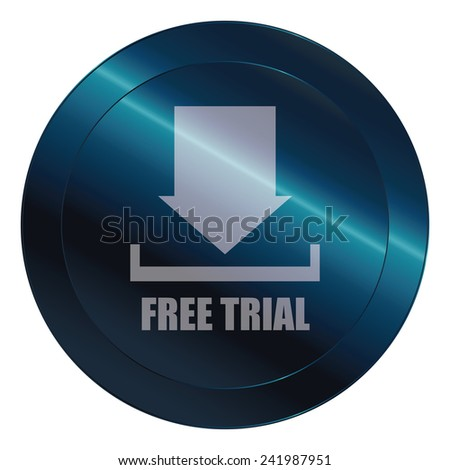 Blue circle metallic free trial icon, tag, label, badge, sign, sticker isolated on white  - stock photo