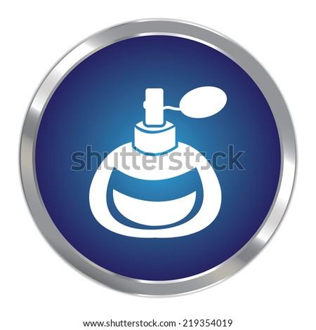 Blue Circle Metallic Perfume or Fragrance Spray Icon or Button Isolated on White Background  - stock photo