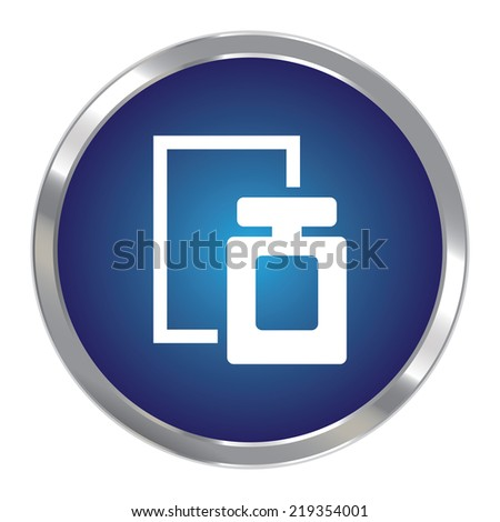 Blue Circle Metallic Perfume Spray Icon or Button Isolated on White Background  - stock photo