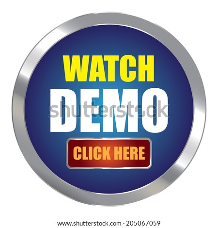 Blue Circle Metallic Watch Demo Click Here Label, Sign, Sticker or Icon Isolated on White Background - stock photo