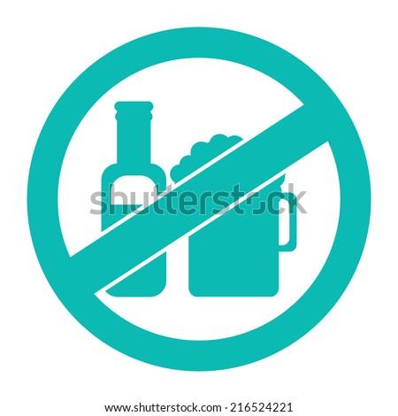 Blue Circle No Alcohol Prohibited Sign, Icon or Label Isolate on White Background  - stock photo