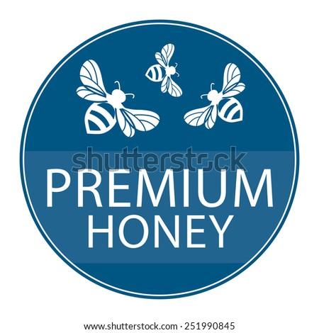Blue Circle Shape Vintage Style Premium Honey Icon, Button or Label Isolated on White Background  - stock photo