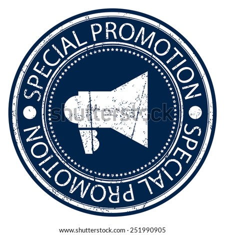 Blue Circle Special Promotion Grunge Sticker, Rubber Stamp, Icon, Tag or Label Isolated on White Background - stock photo
