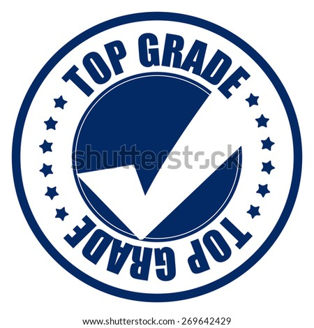 blue circle top grade sticker, tag, sign, icon, label isolated on white - stock photo