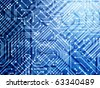 Blue circuit board - stock vector