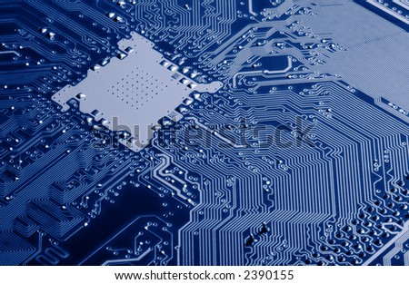 Blue Circuit Board - stock photo