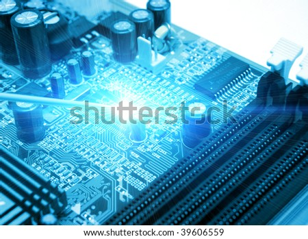 blue circuit board. high technolgy abstract
