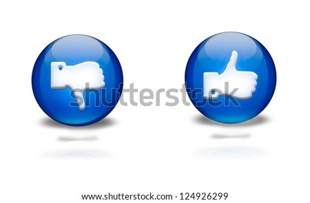 blue circular icons with thumbs up or down - stock photo