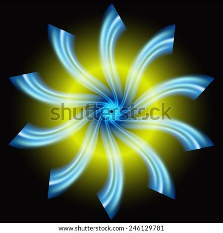 Blue circular on dark background  design - stock photo
