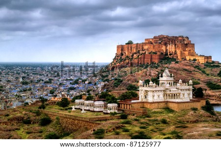 Blue city Jodhpur, Rajasthan, India, with Mehrangharh Fort and Jaswant Thada mausoleum - stock photo
