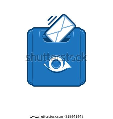 Blue Classic Mail Box. Retro Postbox - stock photo