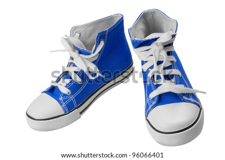 Blue classic sneakers isolated over white with clipping path - stock photo