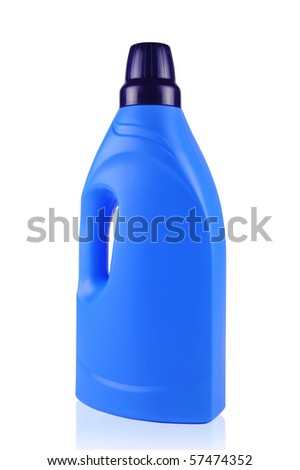 Blue cleaning detergent bottle isolated on white