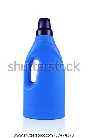 Blue cleaning detergent bottle isolated on white - stock photo