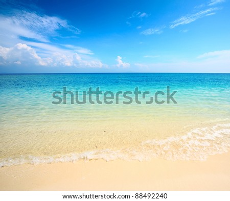 Blue clear sea and sandy beach - stock photo