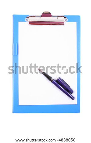blue clipboard with a pen isolated on white