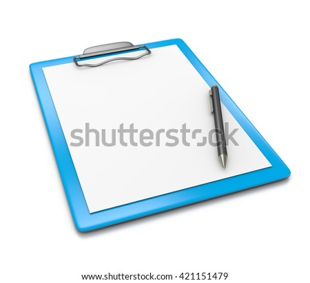 Blue Clipboard with Blank Paper and a Black Ball-point Pen on White Background 3D Illustration - stock photo