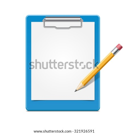 Blue clipboard with blank paper and pencil