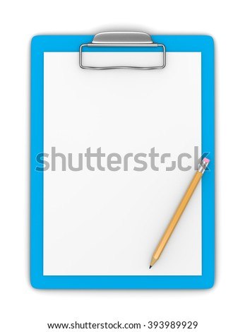 Blue Clipboard with Blank Paper and Pencil on White Background 3D Illustration