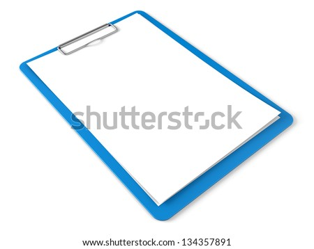 Blue clipboard with blank sheets of paper isolated on white - stock photo