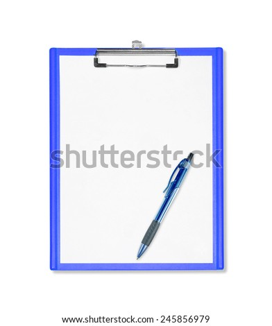 blue clipboard with  pen isolated on white - stock photo