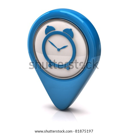 Blue clock icon - stock photo