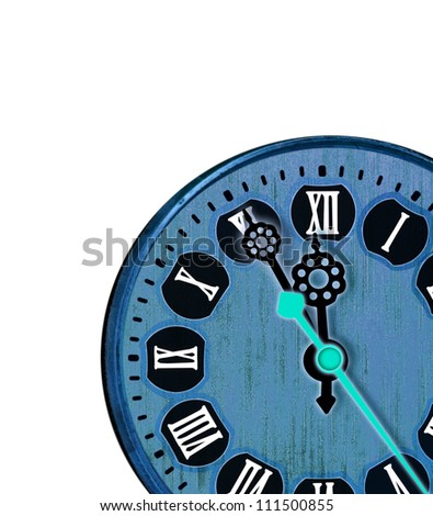 Blue clock with roman numerals show five minutes to 12 - stock photo