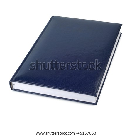 blue closed business leather book isolated over white background