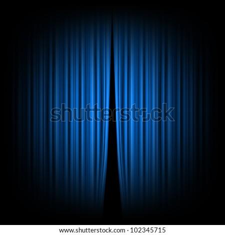 Modren Open Curtain Texture Blue Closed The Lit By A Spotlight Rasterized Versions Inside Decor