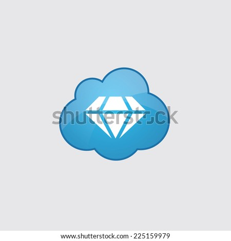 Blue cloud diamond icon, isolated on gray background  - stock photo