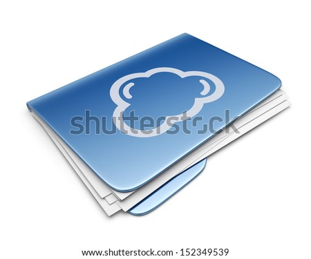 Blue cloud folder. File storage concept. 3D Icon isolated - stock photo