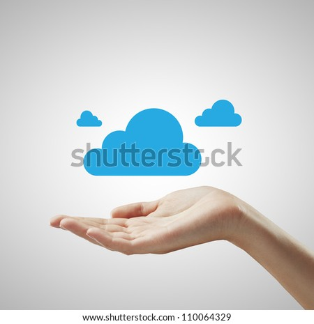 blue cloud in hand on white background
