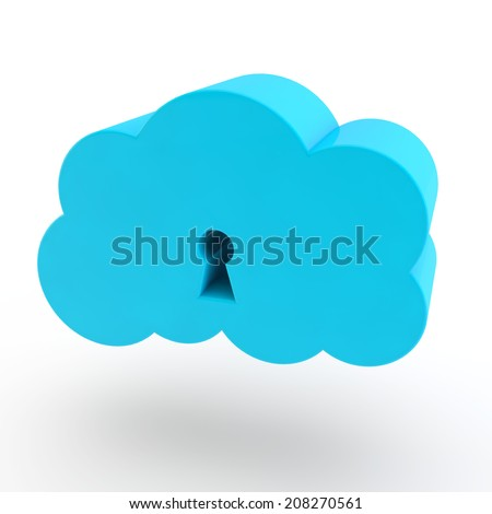 blue cloud of data with a keyhole
