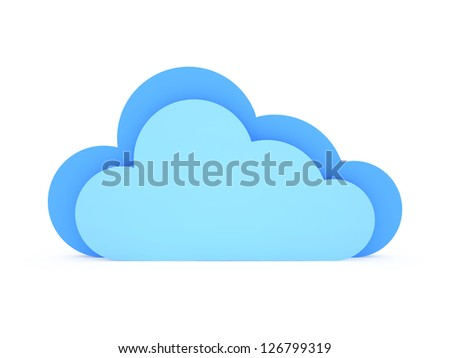 Blue clouds, isolated on white background.