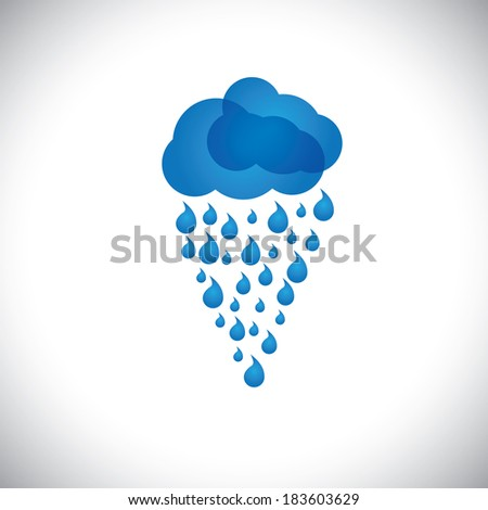 blue clouds & rain  icon, sign or symbol on white background. This graphic also represents rainstorm, heavy rainfall, monsoon, rainy season, inclement weather, drizzle, spate, downpour, etc - stock photo