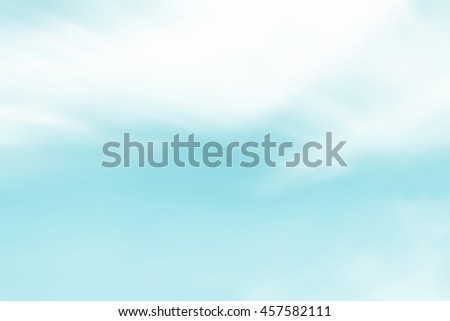 Blue clouds sky heaven background. Soft focus pastel sky white sunlight day time background. Abstract blurred of sunlight. Open view out windows. Cyan gradient cool backdrop. Blurry nature summer - stock photo