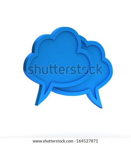 blue cloudy dialog icon on a white background