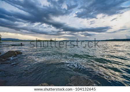 Blue cloudy dramatic sky - stock photo