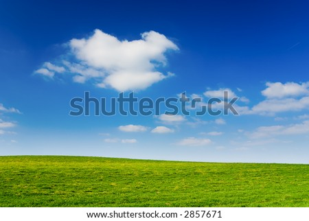 Blue cloudy sky, green grass (background, wallpaper) - stock photo