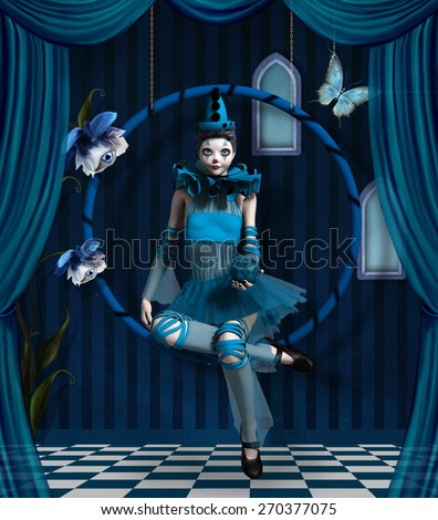 Blue clown in a surreal scenery - stock photo