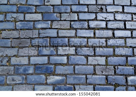 blue cobblestone paved street in Old San Juan, Puerto Rico - stock photo