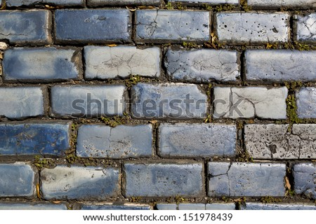 blue cobblestone street in Old San Juan, Puerto Rico - stock photo