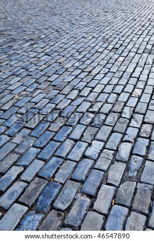 Blue cobblestones of the streets of Puerto Rico - stock photo